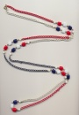 Bicentennial USA necklace in the national colors red, white and blue, made of glass beads and chain, 1976, length 60'' 150cm.