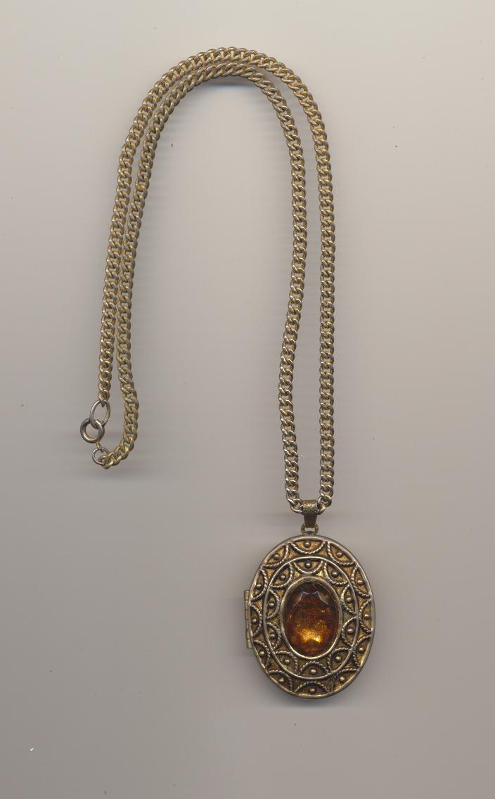 Vintage Avon solid perfume locket pendant convertible to pin with glass cabochon imitating amber, 1970's, length chain ...